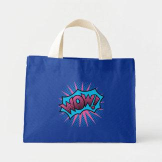 Design de texto do wow bolsa tote mini