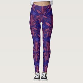 Design do abstrato do azul e do malva leggings