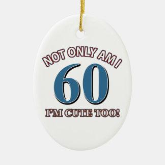 Design do aniversário das pessoas de 60 anos ornamento de cerâmica oval