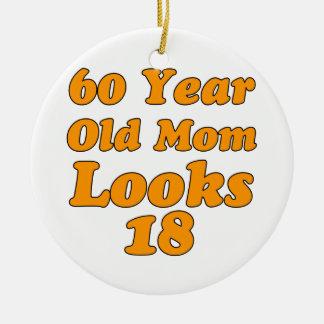 Design do aniversário das pessoas de 60 anos ornamento de cerâmica redondo