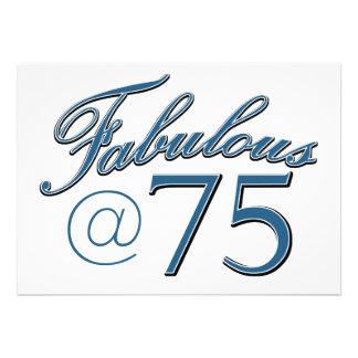 Design do aniversário das pessoas de 75 anos convites personalizados
