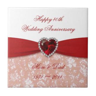 Design do aniversário de casamento do damasco 40th azulejo quadrado pequeno