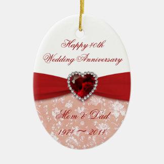 Design do aniversário de casamento do damasco 40th ornamento de cerâmica oval