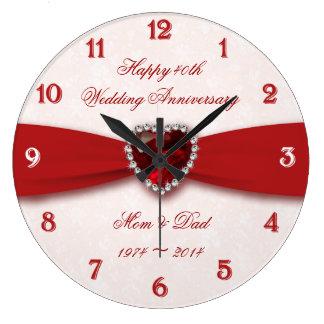 Design do aniversário de casamento do damasco 40th relógios de paredes