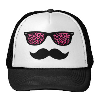 Design do bigode do Wayfarer do leopardo do rosa q Boné