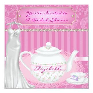 Design do bule do chá de panela & do damasco do convite quadrado 13.35 x 13.35cm