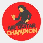 Design do campeão de Air Guitar Adesivos Redondos