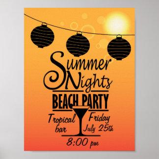 Design do convite de festas da praia das noites de poster