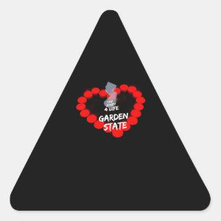 Design do coração da vela para o estado de adesivo triangular