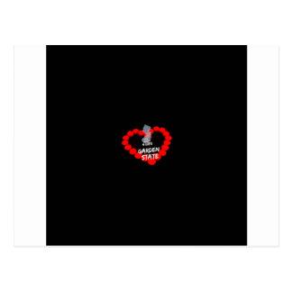 Design do coração da vela para o estado de cartão postal