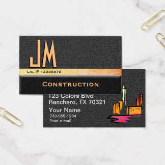 Design do monograma da construção cartão de visitas