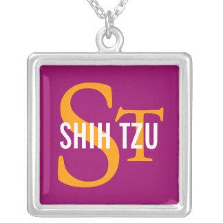 Design do monograma da raça de Shih Tzu Colar Com Pendente Quadrado