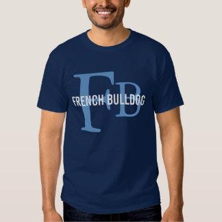 Design do monograma da raça do buldogue francês t-shirts