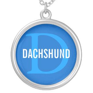 Design do monograma da raça do Dachshund Colar Com Pendente Redondo