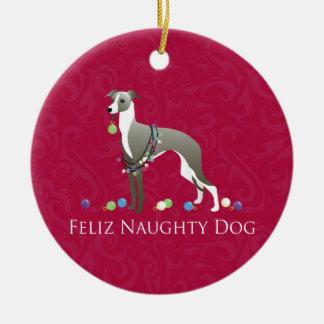 Design do Natal do galgo italiano Ornamento De Cerâmica Redondo