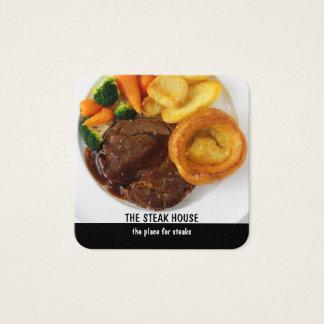 Design do restaurante do bife cartão de visitas quadrado