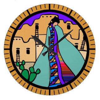 Design do sudoeste do nativo americano do povoado relógio de parede