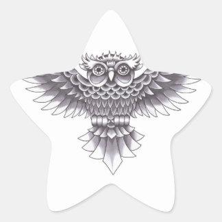 Design do tatuagem da coruja da velha escola adesito estrela