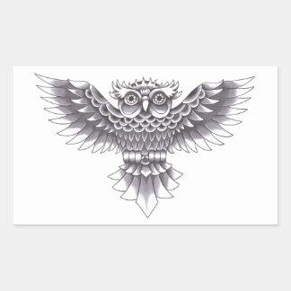 Design do tatuagem da coruja da velha escola adesivo retangular