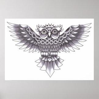 Design do tatuagem da coruja da velha escola poster