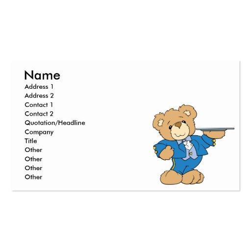 design do urso de ursinho do garçom cartao de visita