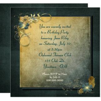 design do vintage para a festa de aniversário convite quadrado 13.35 x 13.35cm