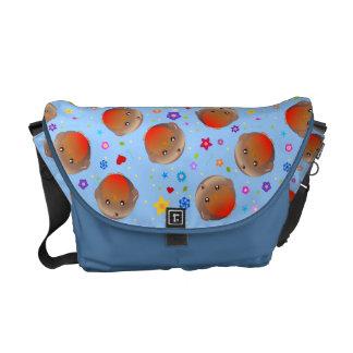 Design dos robins e das flores - saco azul bolsa mensageiro