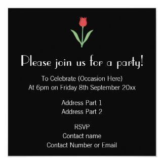 Design elegante da tulipa no preto convites personalizado