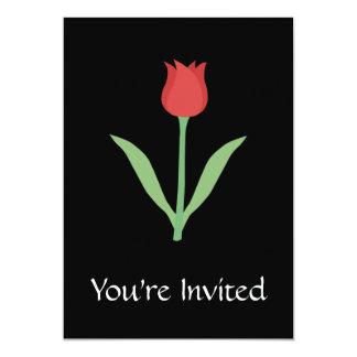 Design elegante da tulipa no preto convite 12.7 x 17.78cm