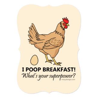 Design engraçado do pequeno almoço dos tombadilhos convite 12.7 x 17.78cm