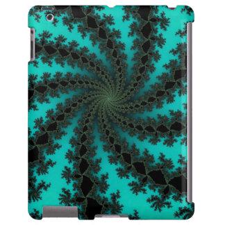 Design espiral preto do fractal da cerceta capa para iPad