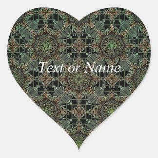 design fantástico da mandala verde adesivo de coração