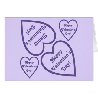 Design feliz roxo dos corações do dia dos cartão