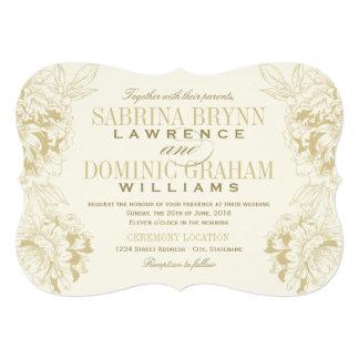 Design floral da peônia do ouro do convite | do