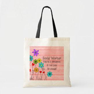 Design floral das citações do assistente social bolsa tote