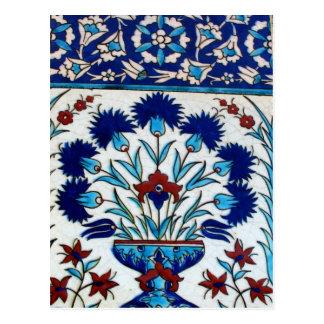 Design floral do azulejo do otomano antigo cartão postal