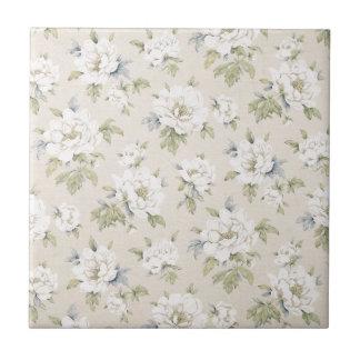 Design floral do bege do vintage azulejo quadrado pequeno