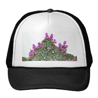 design floral do esboço do arbusto verde das bonés