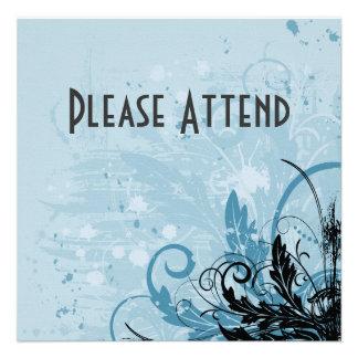 Design floral do Grunge - luz - azul Convites Personalizados
