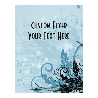 Design floral do Grunge - luz - azul Panfletos Personalizados