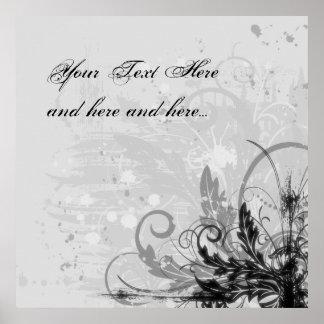 Design floral do Grunge - luz - B&W cinzento Poster