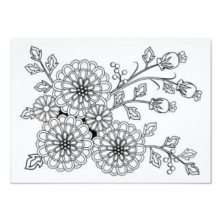 Design floral do rico do cartão da coloração convite 11.30 x 15.87cm