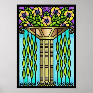 Design floral do vidro da mancha do art deco do vi poster