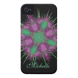 Design floral escocês lunático da cabeça do cardo capinhas iPhone 4