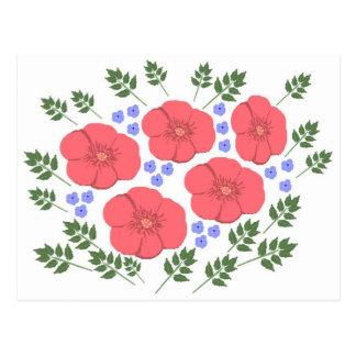 Design floral retro dos anos setenta cartão postal