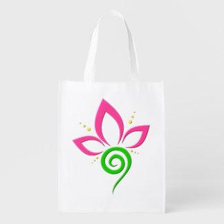 Design floral verde e amarelo cor-de-rosa bonito sacolas ecológicas