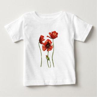 Design floral vermelho das papoilas camiseta