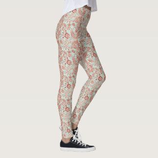 Design floral vermelho & verde da videira do leggings