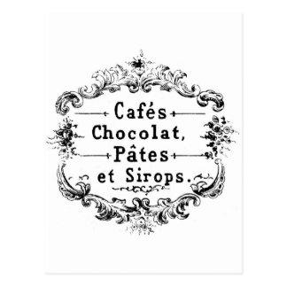 Design francês do chocolate da tipografia do cartão postal