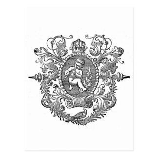 Design francês do querubim da tipografia do cartão postal
